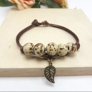 Jewelry - Bronze Leaf & Porcelain Beaded Brown Rope Bangle